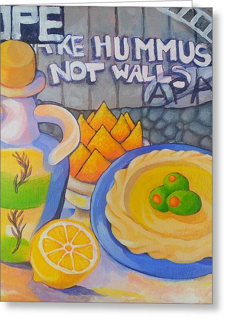 Democracy Paintings Greeting Cards - Hummus Behind a Wall Greeting Card by Corey Habbas