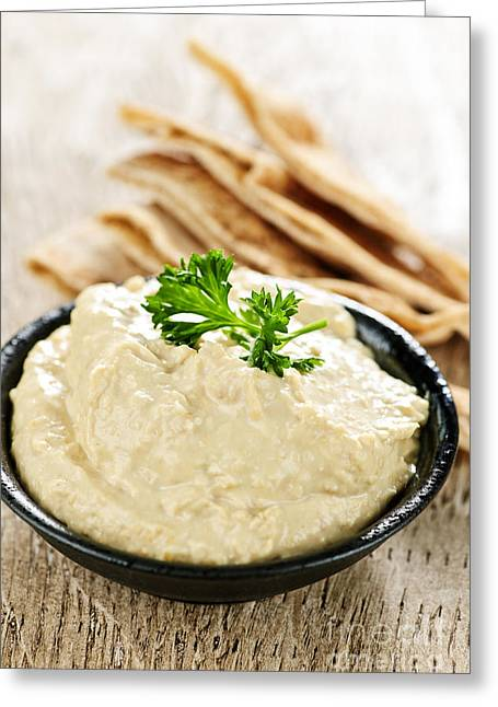 Dipping Greeting Cards - Hummus with pita bread Greeting Card by Elena Elisseeva