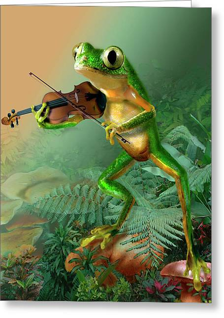 Tree Frogs Greeting Cards - Humorous Tree Frog Playing a Fiddle Greeting Card by Gina Femrite