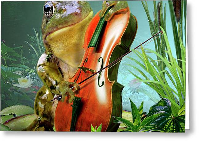 Humorous scene frog playing cello in lily pond Greeting Card by Gina Femrite