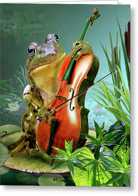 Wildlife Digital Art Greeting Cards - Humorous scene frog playing cello in lily pond Greeting Card by Gina Femrite
