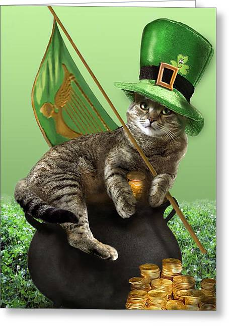 Humorous Greeting Cards Greeting Cards -  St. Patricks day Irish cat sitting on a pot of gold Greeting Card by Gina Femrite