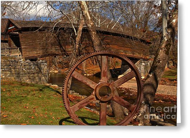Covered Bridge Greeting Cards - Humpback Covered Bridge With A Gear Wheel Greeting Card by Adam Jewell