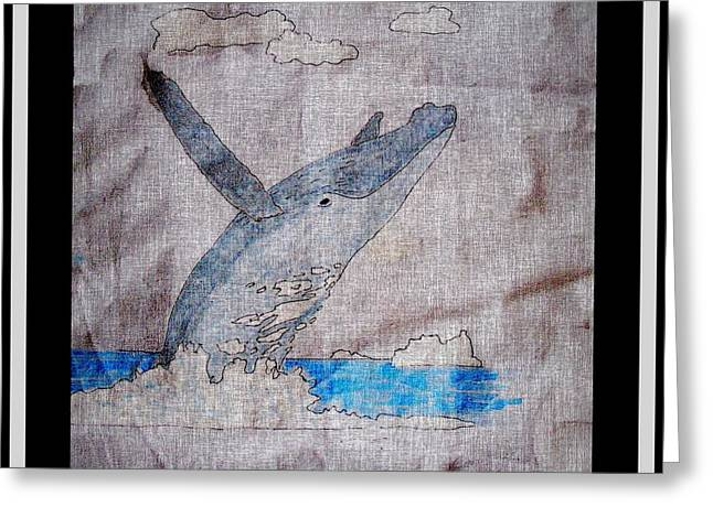 Ocean Mammals Mixed Media Greeting Cards - Humpback Whale Greeting Card by Barbara Griffin