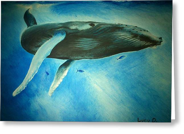 Humpback Whale Greeting Card by Lucy D
