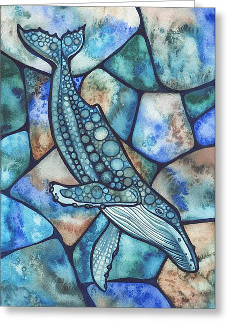 Stained Glass Greeting Cards - Humpback Whale Greeting Card by Tamara Phillips