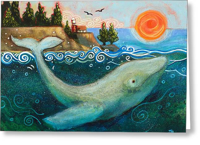 Humpback Whale Paintings Greeting Cards - Humpback Whales in Santa Cruz Greeting Card by Jen Norton