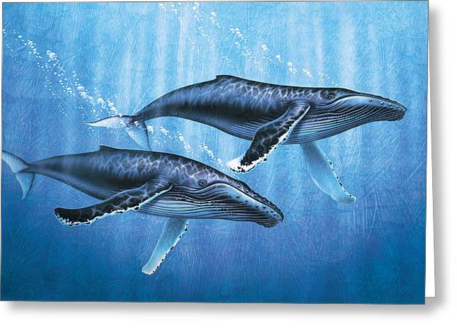 Humpback Whale Paintings Greeting Cards - Humpback Whales Greeting Card by JQ Licensing