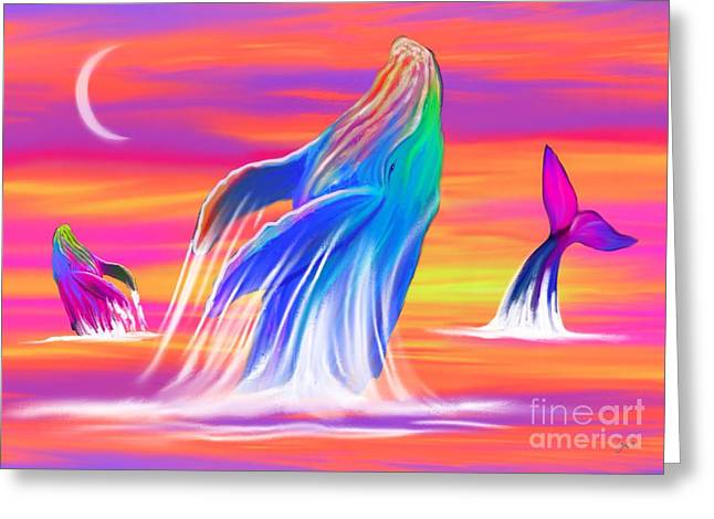 Whale Digital Greeting Cards - Humpback Whales Sunset Greeting Card by Nick Gustafson