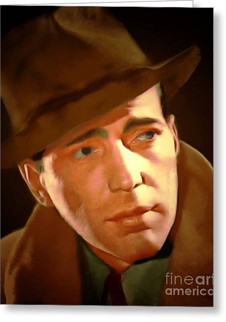 Maltese Digital Greeting Cards - Humphrey Bogart 20150307 Greeting Card by Wingsdomain Art and Photography