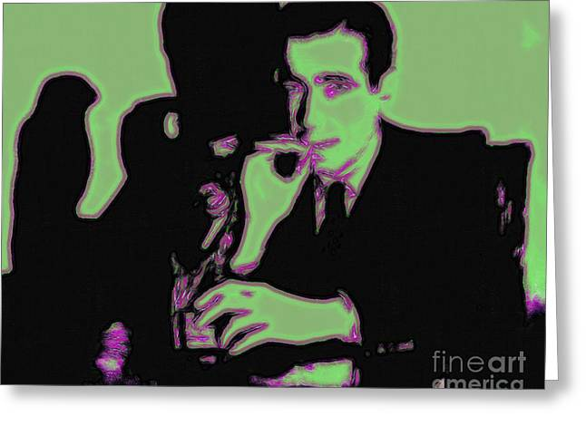 Maltese Digital Greeting Cards - Humphrey Bogart and The Maltese Falcon 20130323 Greeting Card by Wingsdomain Art and Photography