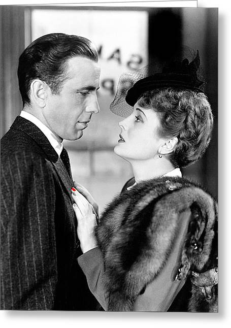 Maltese Falcon Greeting Cards - Humphrey Bogart as Sam Spade with Mary Astor The Maltese Falcon publicity photo 1940-2013 Greeting Card by David Lee Guss