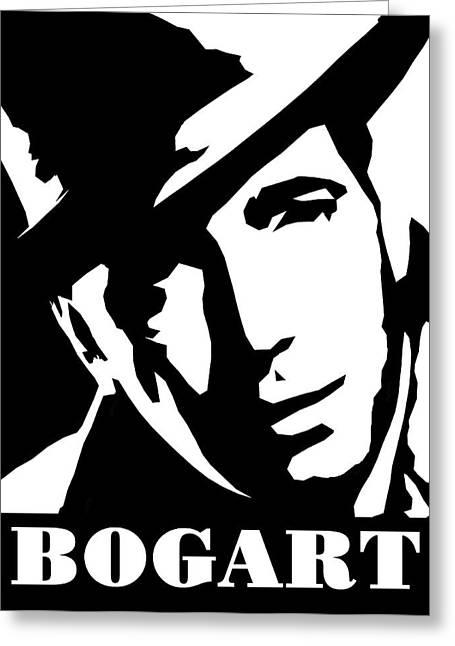 Bogey Greeting Cards - Humphrey Bogart Black and White Pop Art Greeting Card by David G Paul
