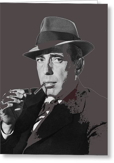 Publicity Shot Photographs Greeting Cards - Humphrey Bogart in  publicity shot for film noir Dead Reckoning 1947-2014 Greeting Card by David Lee Guss