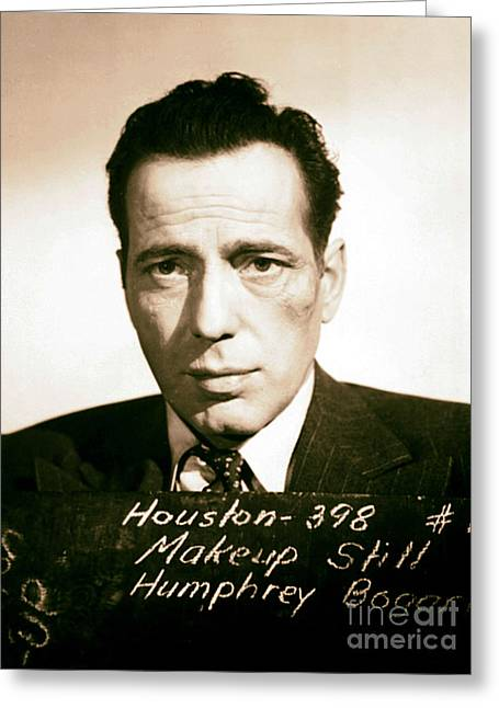 Classic Hollywood Mixed Media Greeting Cards - Humphrey Bogart Make Up Test Greeting Card by Michael Braham