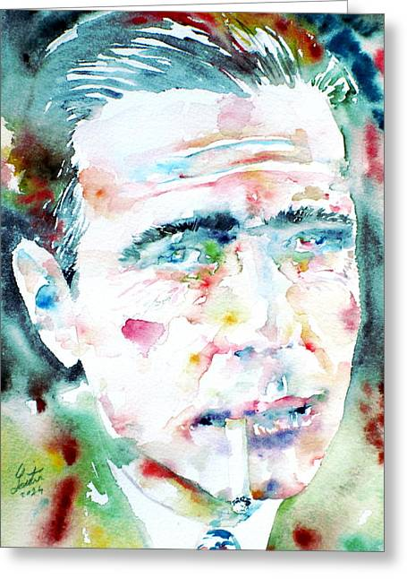 Trenches Paintings Greeting Cards - HUMPHREY BOGART - watercolor portrait.1 Greeting Card by Fabrizio Cassetta