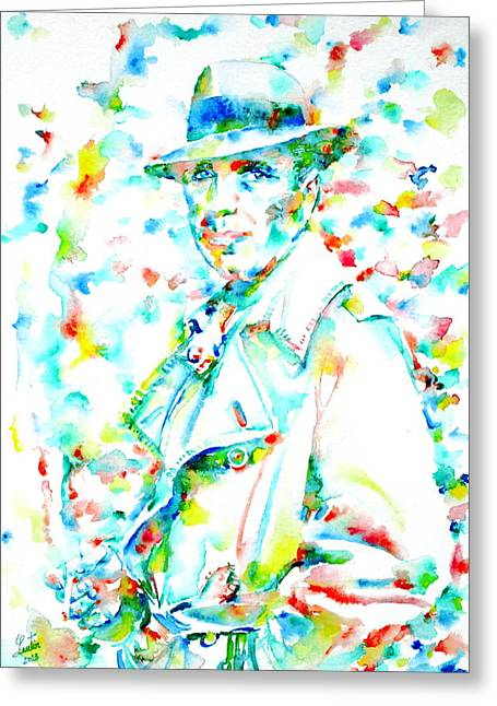 Trenches Paintings Greeting Cards - HUMPHREY BOGART - watercolor portrait.3 Greeting Card by Fabrizio Cassetta