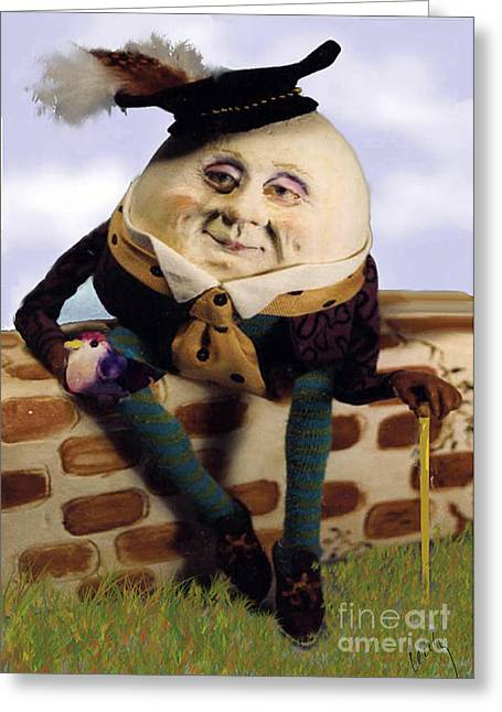 Humpty Dumpty Greeting Cards - Humpty Dumpty Greeting Card by Cecily Mitchell