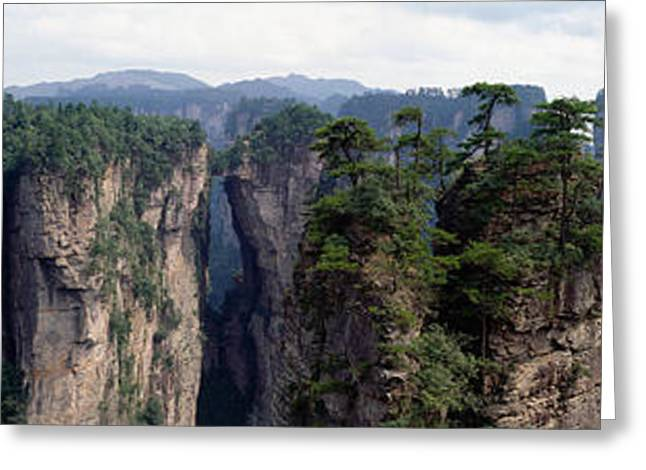Misty Pine Photography Greeting Cards - Hunan China Greeting Card by Panoramic Images