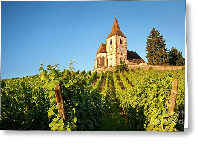 Route Des Vins Greeting Cards - Hunawihr Church Greeting Card by Brian Jannsen