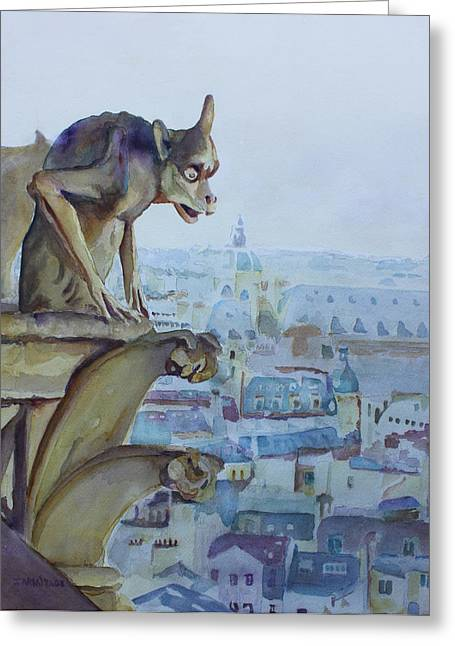 Domes Mixed Media Greeting Cards - Hunchbacked Gargoyle Greeting Card by Jenny Armitage