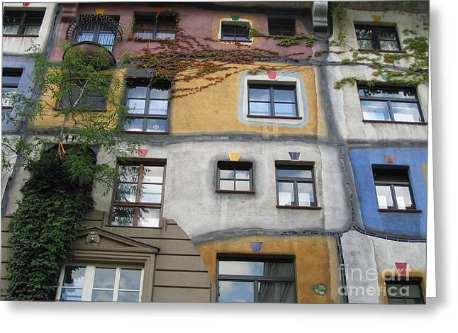 Friedensreich Greeting Cards - Hundertwasser Colored House Greeting Card by Marie Sager