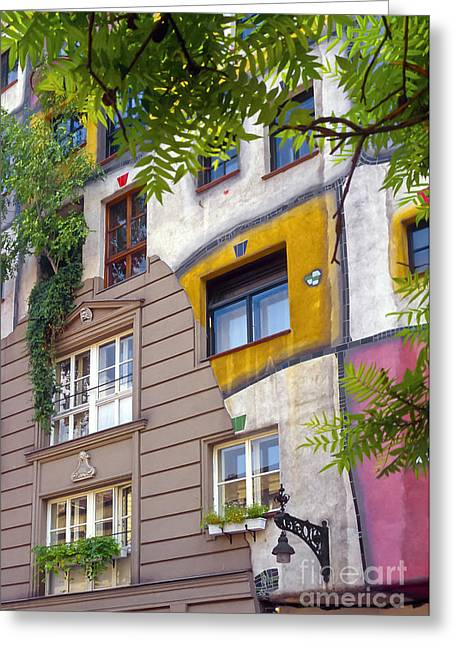 Friedensreich Greeting Cards - Hundertwasser House Greeting Card by Bob Phillips