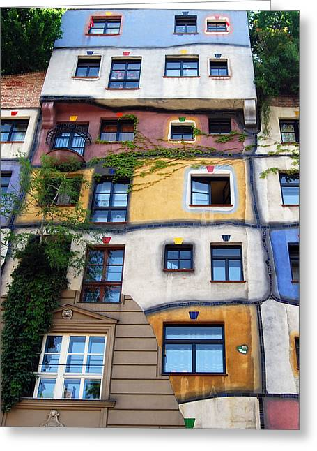 Hundertwasser House Vienna Greeting Card by Timo Peter Gronlund