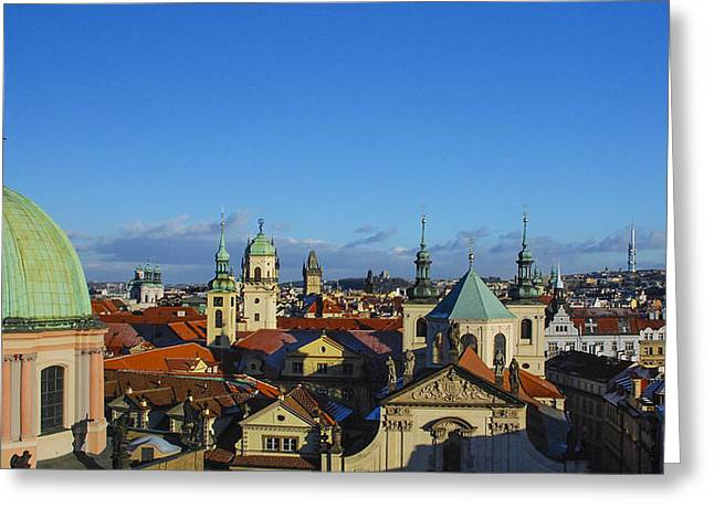 Copper Patina Greeting Cards - Hundred Spires Greeting Card by David Waldo