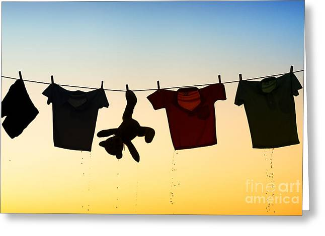Pegs Greeting Cards - Hung Out To Dry Greeting Card by Tim Gainey
