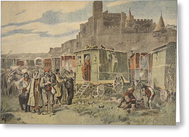 Town Walls Greeting Cards - Hungarian Gypsies Outside Carcassonne Greeting Card by French School