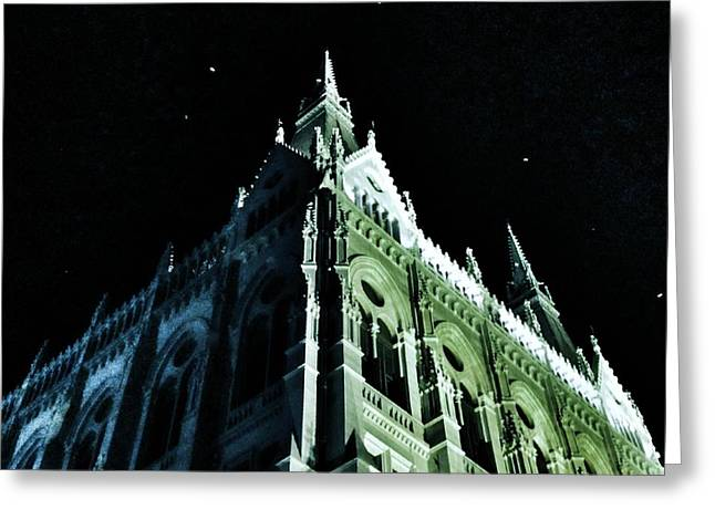 Glass Wall Greeting Cards - Hungarian Parliament Building 2 - Budapest Hungary Greeting Card by Marianna Mills