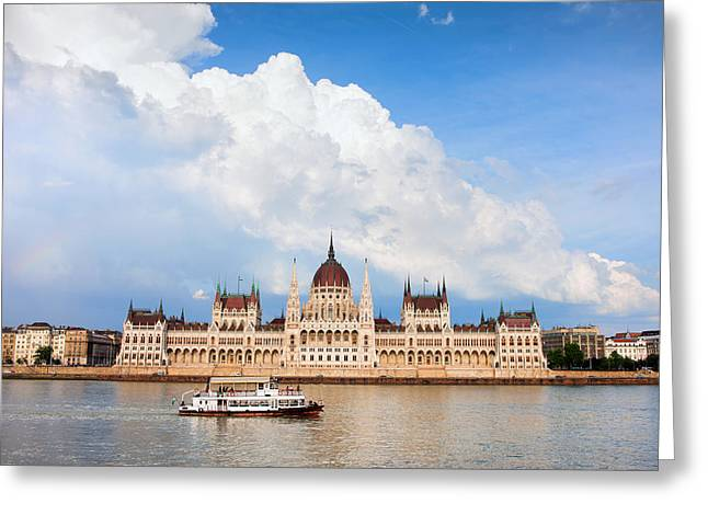 Neogothic Greeting Cards - Hungarian Parliament Building Greeting Card by Artur Bogacki