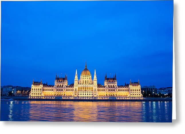Neogothic Greeting Cards - Hungarian Parliament Building at Dusk Greeting Card by Artur Bogacki