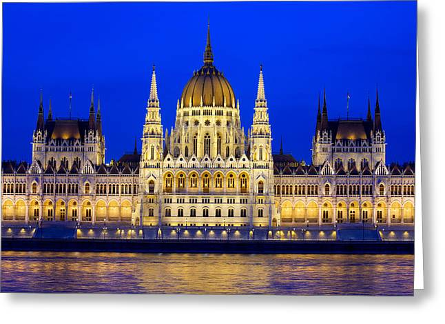 Neogothic Greeting Cards - Hungarian Parliament Building at Evening Greeting Card by Artur Bogacki