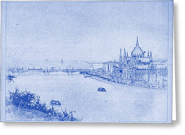 Technical Digital Art Greeting Cards - Hungarian Parliament Building in Budapest Blueprint Greeting Card by Justin Woodhouse