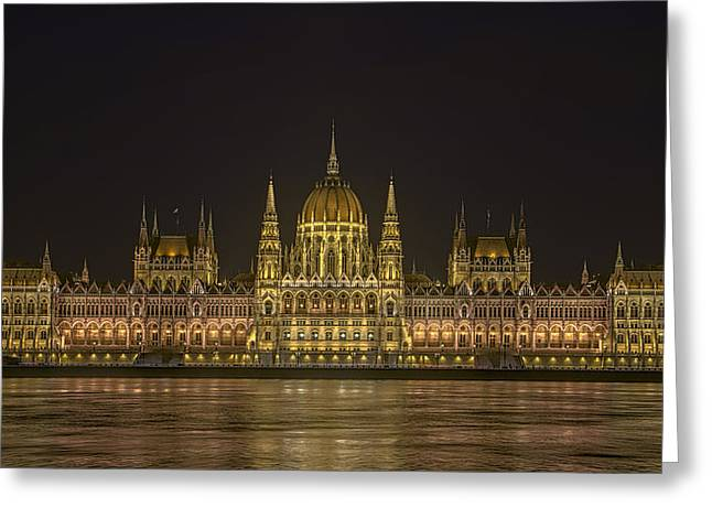 Hungarian Parliament Building Night Greeting Card by Joan Carroll