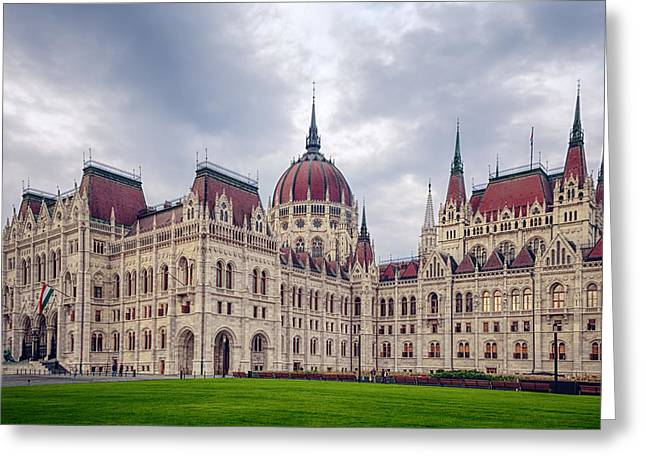 Gothic Revival Greeting Cards - Hungarian Parliament  Greeting Card by Joan Carroll