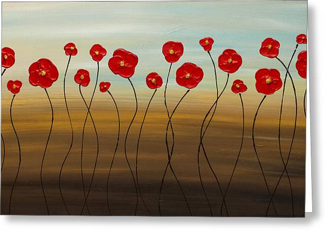 Red Poppies Greeting Cards - Hungarian Poppies Greeting Card by Carmen Guedez
