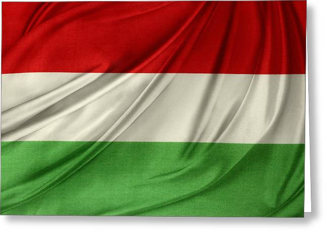 Shiny Fabric Greeting Cards - Hungary flag Greeting Card by Les Cunliffe