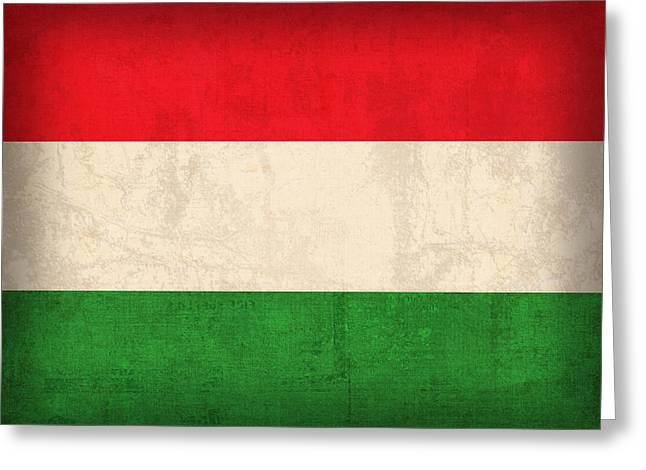 Hungary Greeting Cards - Hungary Flag Vintage Distressed Finish Greeting Card by Design Turnpike