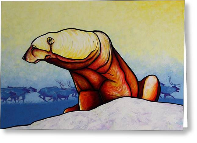 Winter Landscape Paintings Greeting Cards - Hunger Burns - Polar Bear Greeting Card by Joe  Triano