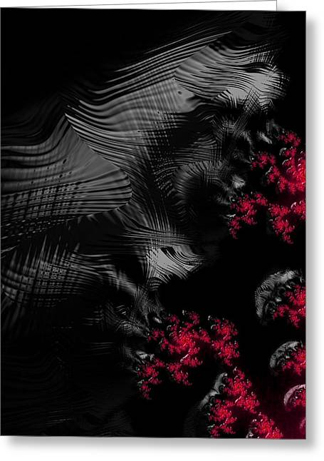 Creepy Digital Art Greeting Cards - Hunger - dark and blood red fractal art Greeting Card by Matthias Hauser
