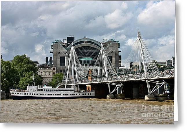 Charing Cross Bridge Greeting Cards - Hungerford Bridge and Charing Cross Greeting Card by Jeremy Hayden