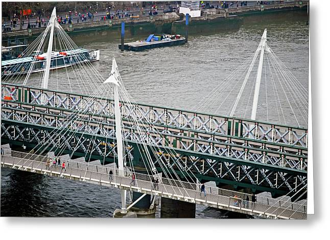 Charing Cross Bridge Greeting Cards - Hungerford Bridge Greeting Card by Christi Kraft