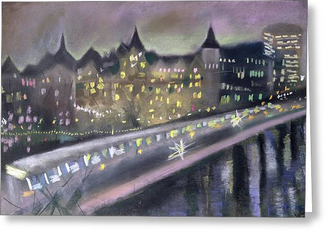 Winter Night Greeting Cards - Hungerford Bridge, From The South Bank, 1995 Pastel On Paper Greeting Card by Sophia Elliot