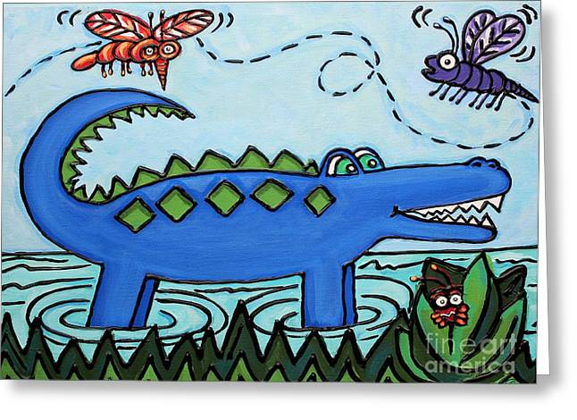 Florida Gators Mixed Media Greeting Cards - Hungry Blue Gator Greeting Card by Cynthia Snyder