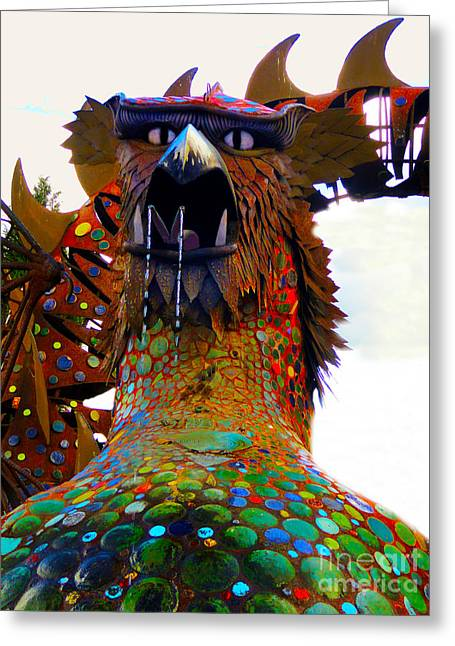 Metal Sculpture Greeting Cards - Hungry Dragon Greeting Card by Al Bourassa