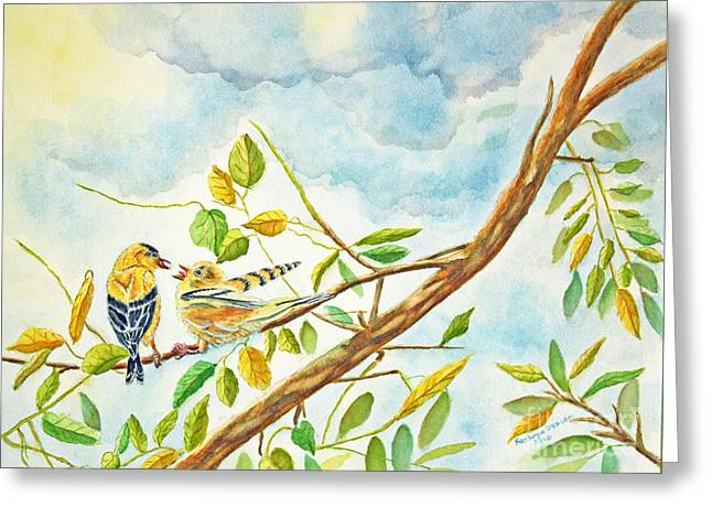 Bird Art Greeting Cards - Hungry Goldfinch Fledgling Greeting Card by Kathryn Duncan