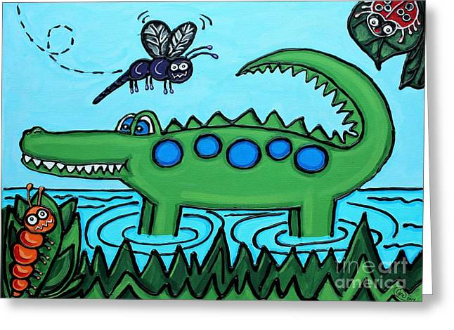 Florida Gators Mixed Media Greeting Cards - Happy Green Gator Greeting Card by Cynthia Snyder